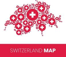 Switzerland map filled with flag shaped circles vector