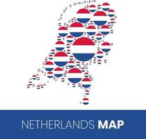 Netherlands map filled with flag shaped circles vector