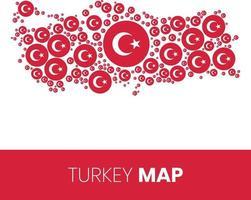 mapa de turquía lleno de círculos en forma de bandera vector