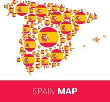 mapa de españa lleno de círculos en forma de bandera vector