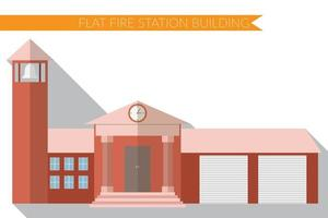 Flat design modern vector illustration of fire station building icon, with long shadow