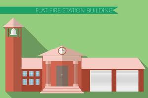 Flat design modern vector illustration of fire station building icon, with long shadow on color background