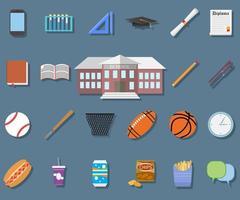 Back to School Flat design modern vector illustration, school building, pen, pensil, food, sport items, diploma and graduation cap icons