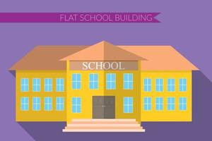 Flat design modern vector illustration of school building icon set, with long shadow on color background