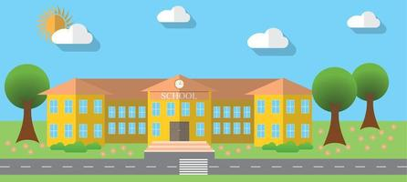 Flat design vector illustration of school building in flat design style, vector illustration