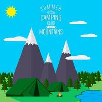 Mountains with forest and lake landscape flat vector illustration, for camping and hiking, Extreme sports, outdoor adventure, with recreation place, tents and fire
