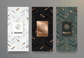 Vector set packaging templates black and white geometric pattern for luxury products