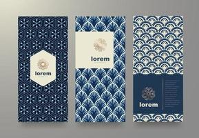Vector set packaging templates japanese pattern for luxury products