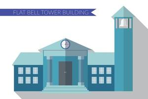Flat design modern vector illustration of building with bell tower icon, with long shadow