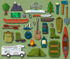 Flat design modern vector illustration of camping and hiking equipment set. Travel and vacation items, car rubber boat and shoes, tent, knife and axe, backpack and hiking shoes, campfire and guitar