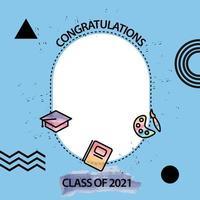 Facebook frame graduation class of 2021 design vector