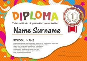 Preschool Kids Diploma certificate vector