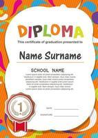 certificado de diploma para niños en edad preescolar vector