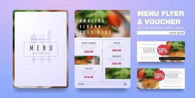 Menu flyer and voucher design template vector