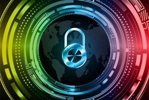 Closed Padlock on digital background cyber security photo
