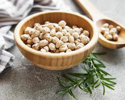 Uncooked dried chickpeas photo