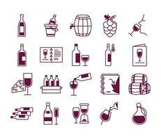 paquete de veinte vino set iconos vector