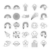 paquete de veinticinco arcoíris y personajes kawaii vector