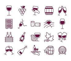 Paquete de veinte iconos de colección de set de vino vector
