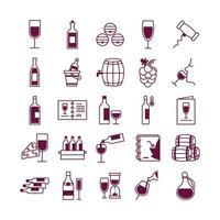 Paquete de veinticinco iconos de colección de set de vino vector