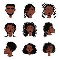 grupo de nueve personajes de avatares de personas de etnia afro vector