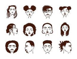 grupo de doce personajes de avatares de personas de etnia afro vector