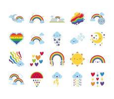 paquete de veinte arcoíris e iconos de personajes kawaii vector