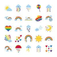 paquete de veinticinco arcoíris e íconos de personajes kawaii vector