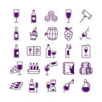 paquete de veinticinco iconos de set de vino vector