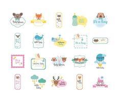 paquete de veinte baby shower set iconos de colección vector