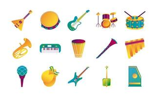 bundle of fifteen musical instruments set icons vector