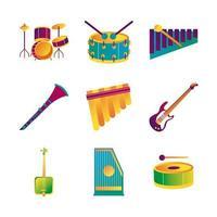 bundle of nine musical instruments set icons vector