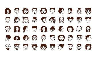 grupo de cincuenta personajes de avatares de personas étnicas afro vector