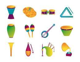 bundle of twelve musical instruments set icons vector