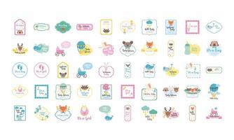paquete de cincuenta iconos de set de ducha de bebé vector