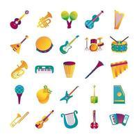 bundle of twenty five musical instruments set collection icons vector
