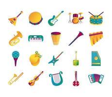 bundle of twenty musical instruments set icons vector