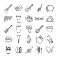 bundle of twenty five musical instruments set icons vector