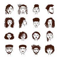 grupo de dieciséis personajes de avatares de personas afro étnicas vector