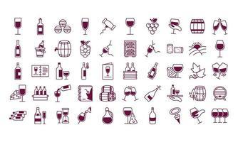 paquete de cincuenta iconos de set de vino vector
