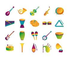 bundle of twenty musical instruments set collection icons vector