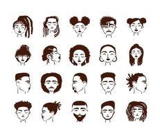 grupo de veinte personajes de avatares de personas de etnia afro vector
