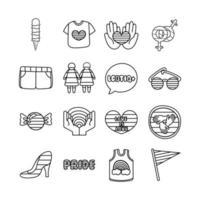 bundle of lgbtq set icons vector