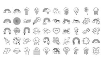 paquete de cincuenta arcoíris e íconos de personajes kawaii vector