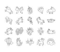 bundle of fairytale unicorn set icons vector