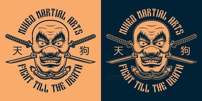 Black and orange t shirt design of a Japanese Tengu mask vector