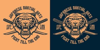 Black and orange vector illustration of a tiger with crossed katana swords