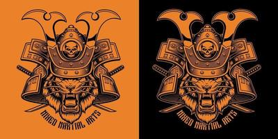 Black and orange vector illustration of Tiger Samurai