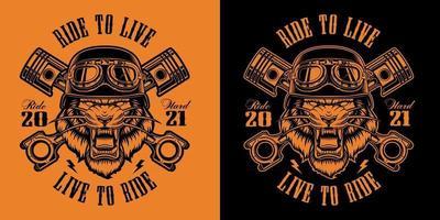 Black and orange biker patch with a tiger biker vector