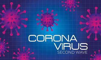 corona virus second wave poster with purple particles in blue background vector